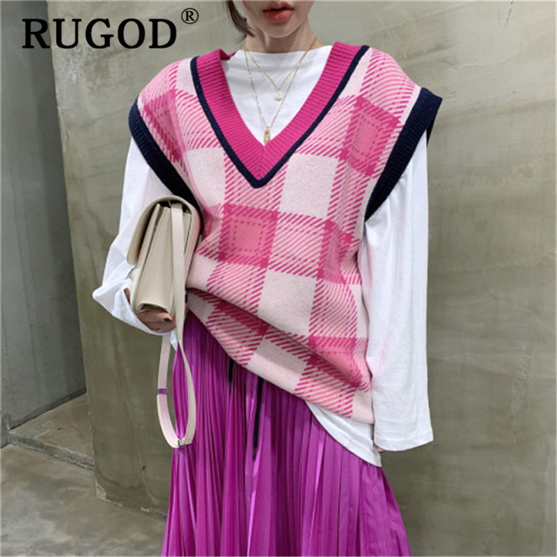 RUGOD Korean Plaid Loose Knitted Sweater Rvest Women Vintage V Neck Sleeveless Oversized Pullovers Tops 2019 Preppy Sweaters