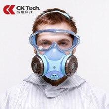 CK Tech. Schutzbrille Stoßfest + Silikon Schutzhülle Anti staub Maske Atemschutz Anti gas Formaldehyd Pestizid Farbe Maske Set