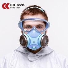 CK טק. בטיחות משקפי מגן עמיד הלם + סיליקון מגן נגד אבק מסכת ההנשמה נגד גז פורמלדהיד חומרי הדברה צבע מסכת סט