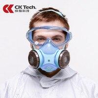 Ck tech. óculos de segurança à prova de choque + silicone protetor anti-poeira máscara respirador anti-gás formaldeído pesticidas pintura máscara conjunto