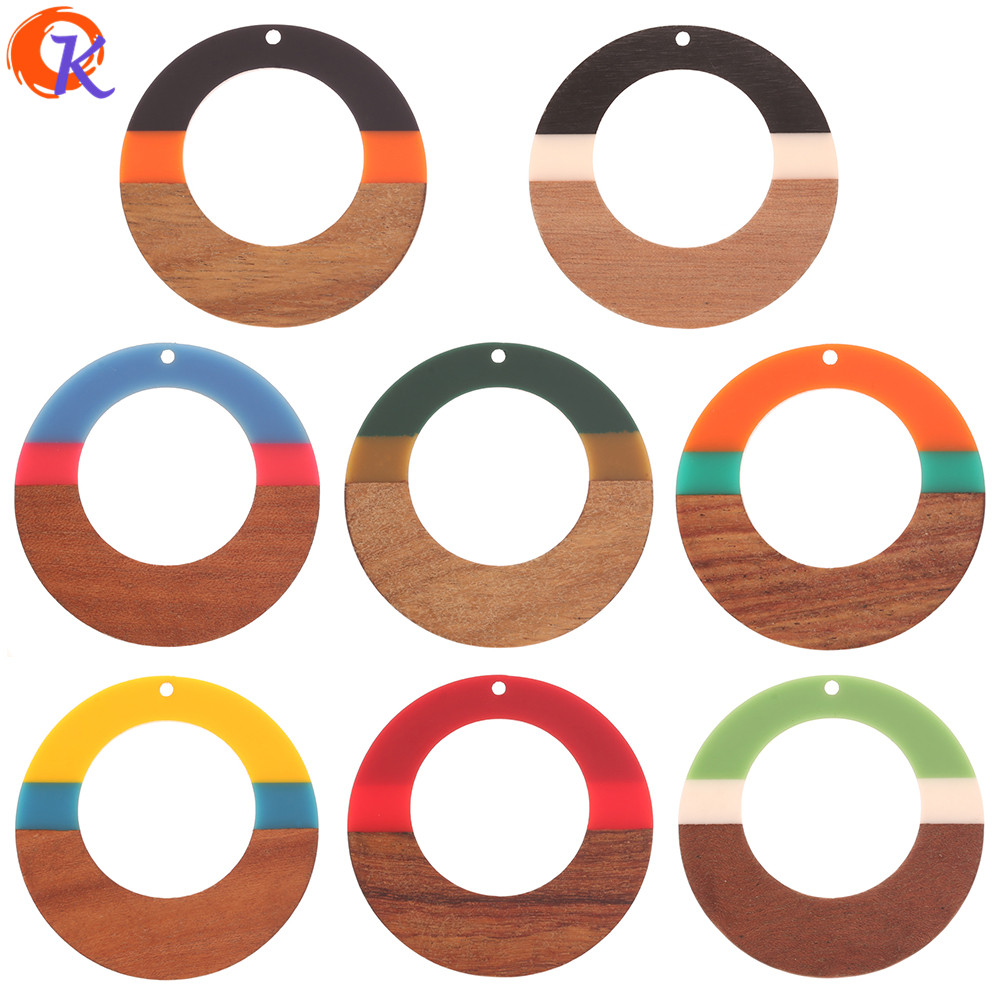 Cordial Design 20Pcs 48*49MM Hand Made/Charms/DIY Making/Natural Wood & Resin/Loop Shape/Earring Findings/Jewelry Accessories image