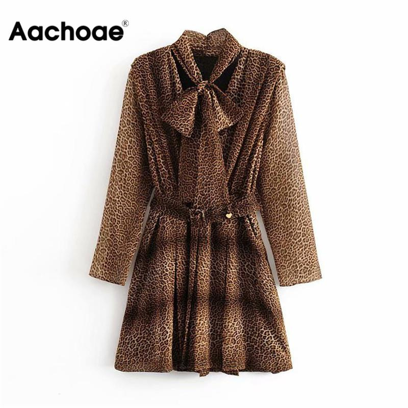 Aachoae Women Leopard Mini Dress Bow Tie Collar Long Sleeve Streetwear Dresses Bandage Pleated High Street Sundresses