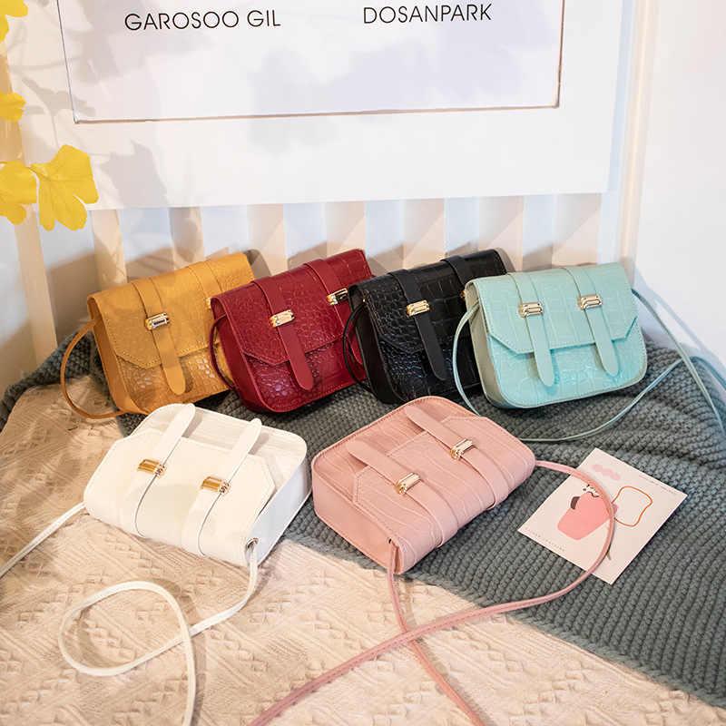 Mini Persegi Kecil Tas untuk Wanita 2020 Baru Tren Wanita Tas Bahu PU Warna Solid Gesper Messenger Tas Kecil Square tas tangan