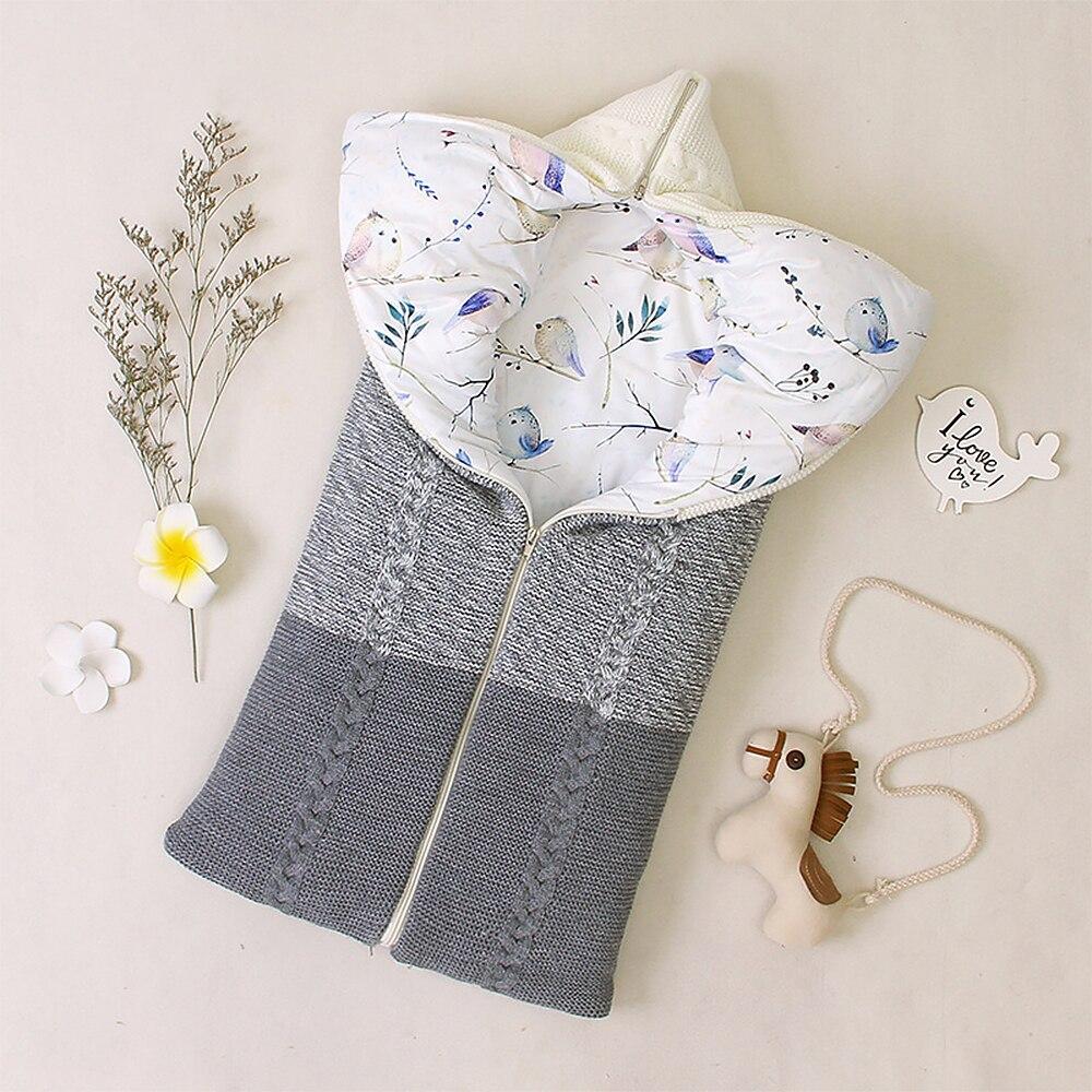 Baby Sleeping Bag For Newborn Baby Stroller Sleepsacks Winter Warm Sleep Bag Envelope Outdoor Swaddle Wrap Knitted Blanket