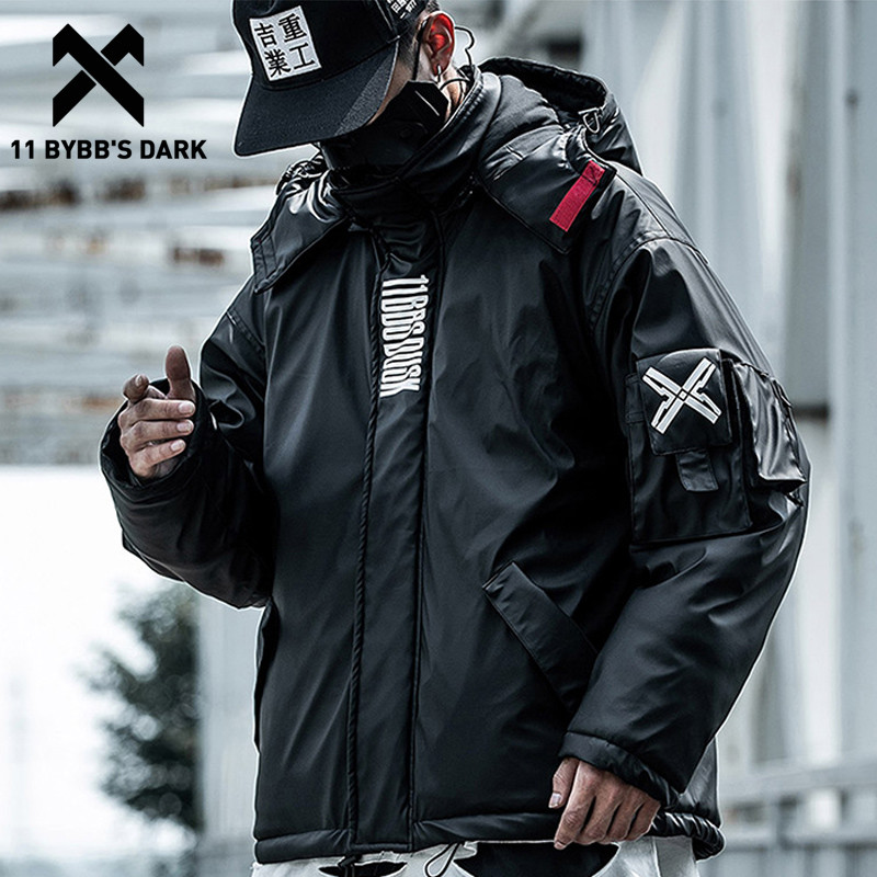 11 BYBB'S DARK PU Leather Hooded Parkas Jacket Techwear Hip Hop Padded Jackets Harajuku Windbreaker Japanese Streetwear Coats