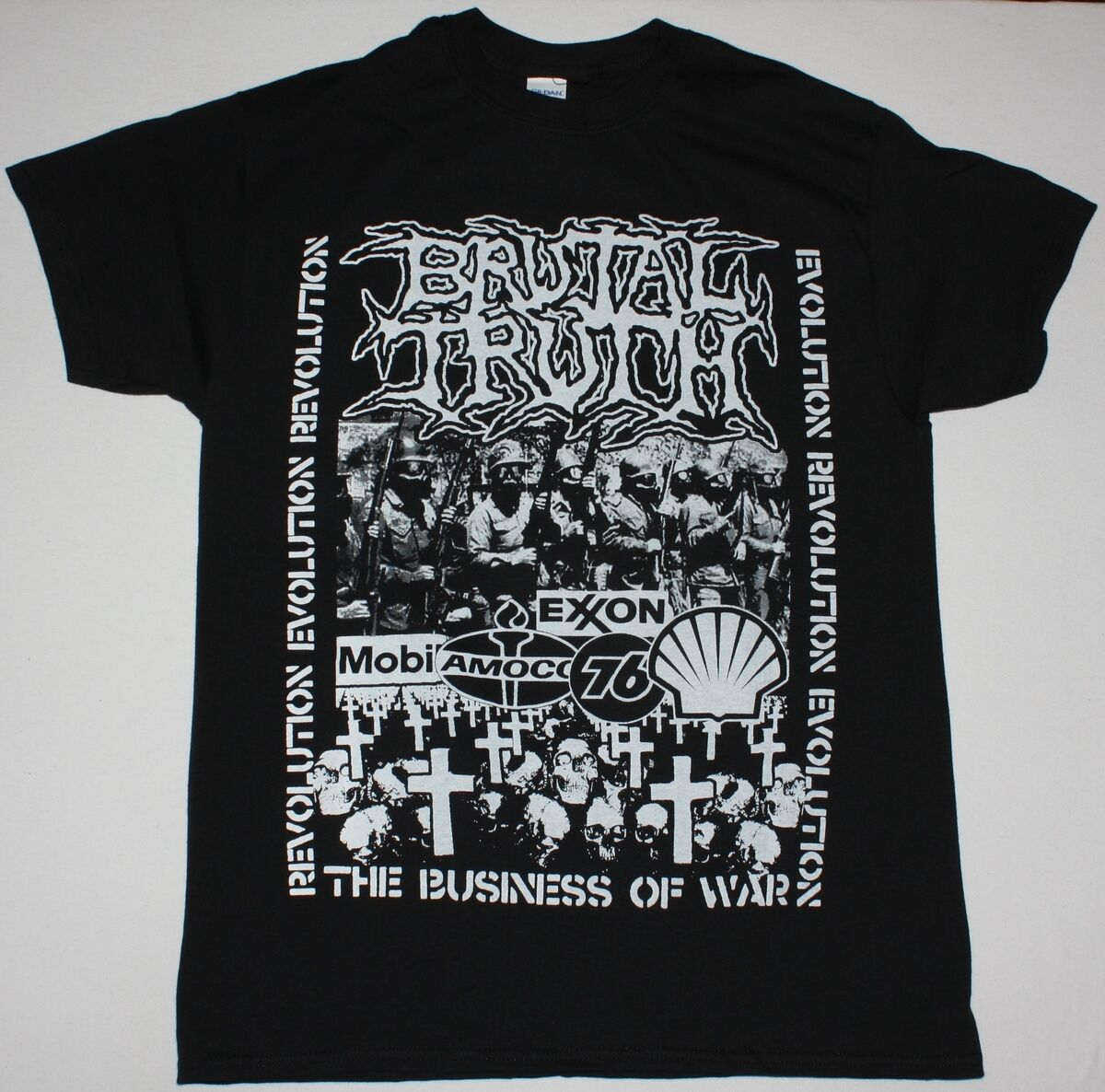 BRUTAL TRUTH EVOLUTION THROUGH REVOLUTION DEATH GRINDCORE NEW BLACK T SHIRT Cheap Wholesale tees,100% Cotton Tee Shirt