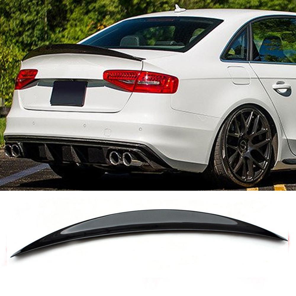 Fit Audi S4 B8 Sedan 2009-15 Real Carbon Fiber Trunk Spoiler Rear Wing HK Style