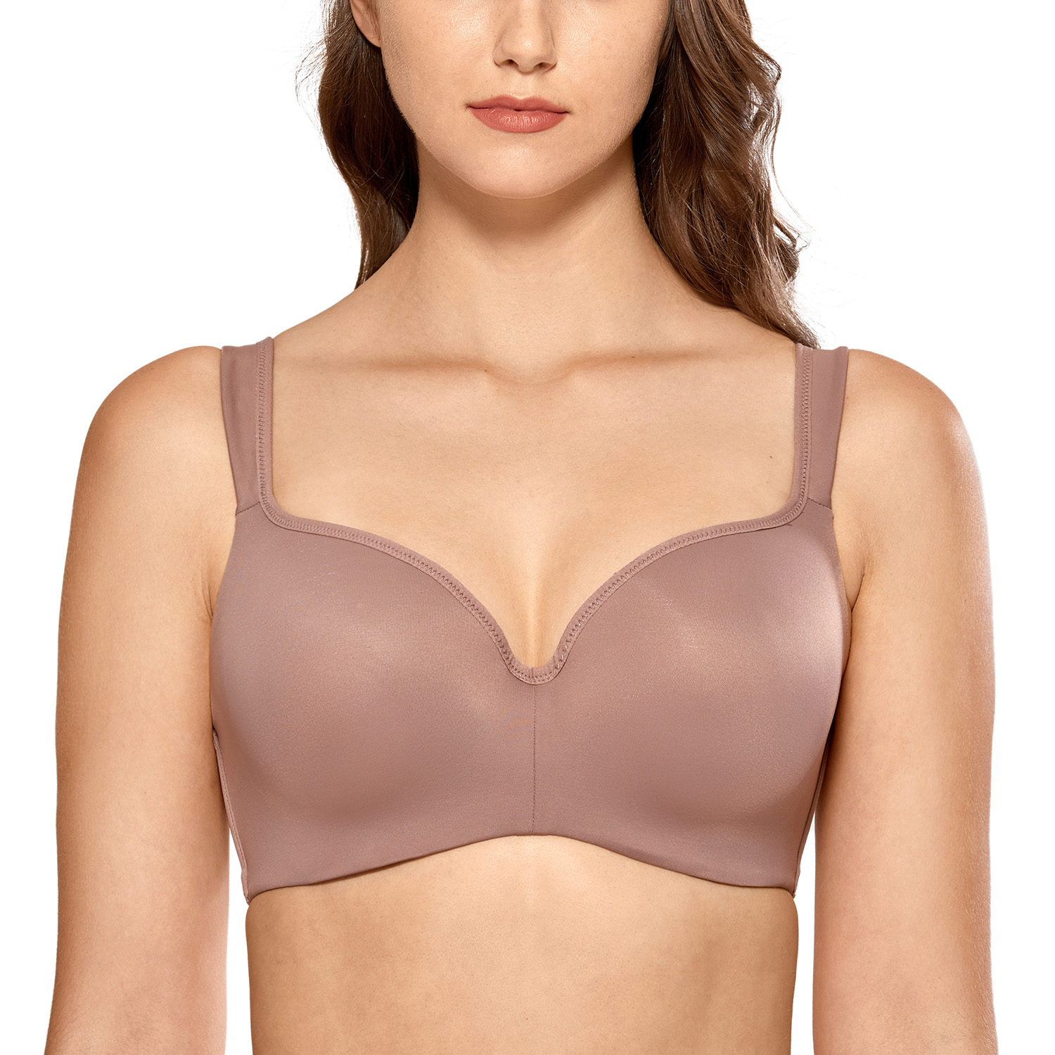 Women's Smooth Full Coverage Lightly Padded Underwire Balconette T-Shirt Bra Plus Size