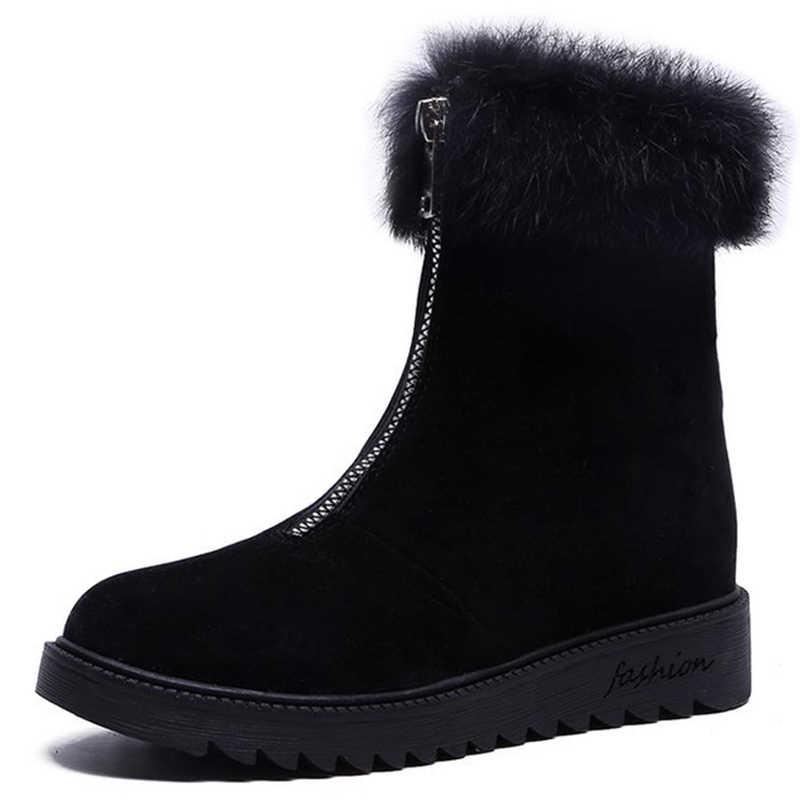 KARINLUNA yeni moda fermuar Faux kürk botları bayan sonbahar bahar kaymaz yarım çizmeler kadın 2019 rahat platform ayakkabılar kadın