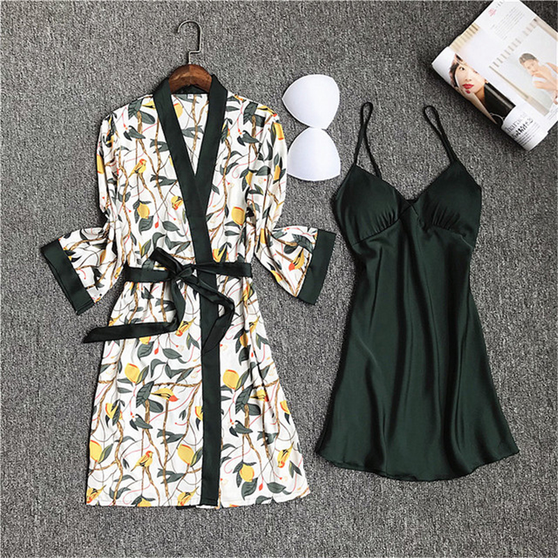 Long-sleeved Printed Dress Two-piece Robe Nightdress Women With Chest Pads Straps Charming Sleepwear Thin Nightwear Peignoir