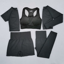 2/3/5 pçs feminino vital sem emenda yoga conjunto treino sportwear ginásio roupas curto/manga longa colheita superior cintura alta leggings esportes terno