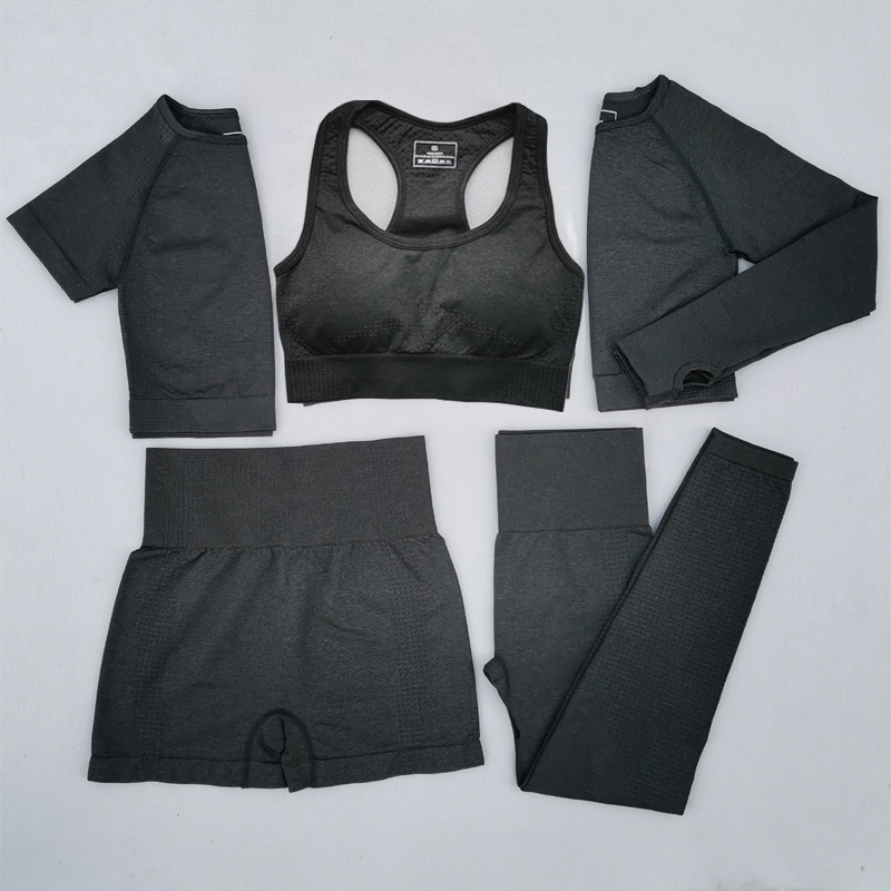 5PCS Women Vital Seamless Yoga Set Workout Sport Wear Gym Clothing Short/Long Sleeve Crop Top High Waist Leggings Sports Suit
