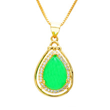 24K Gold Pendant Necklace for Women Fine Heart Water Drop Shape 24K Dubai Gold Crystal Chalcedony Gem Jewelry Wedding Jewelry real 24k yellow gold pendant women 999 gold 3d heart pendant