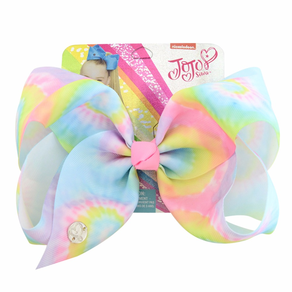 """Cute 8/"""" Extra Large Bow Hair Knot Clips Girls Ribbon Bows Kids Gradient Rainbow"""