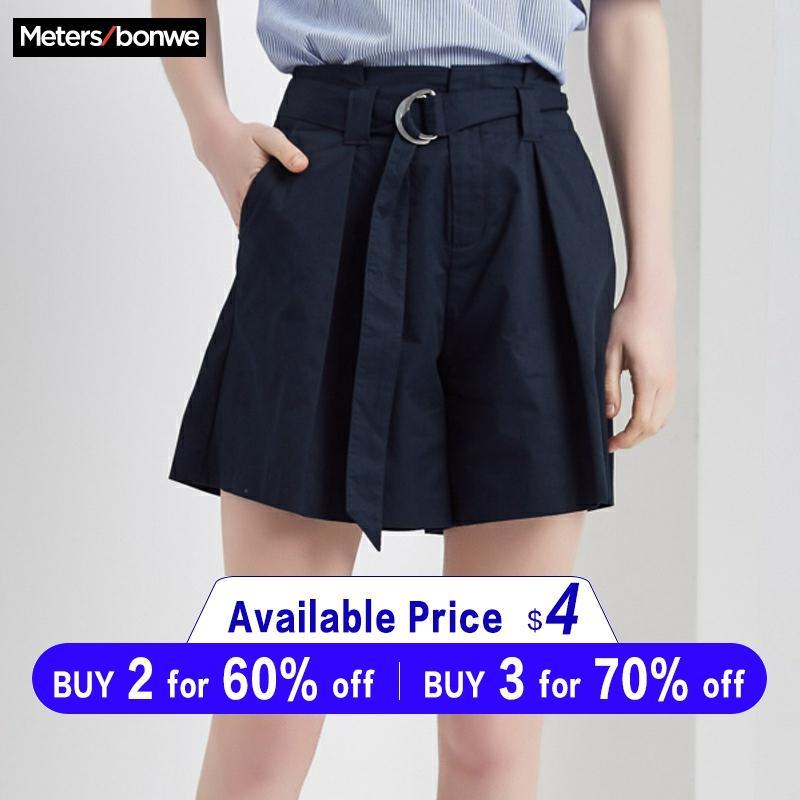 Metersbonwe Girls Female Wide Shorts Ins Tide Korean Version New Style Hot Retro Casual Shorts Summer Sashes Shorts