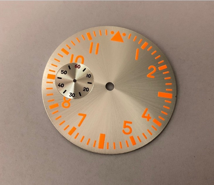 38.9mm GEERVO Fashion Sterile Orange Luminous Orange Numbers Silvery Dial Fit ETA6497 Movement Men's Watch Dial 017A