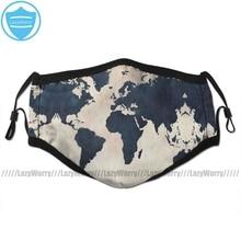 Маска для лица с изображением рта карта мира темно синяя маска для лица модная забавная маска с 2 фильтрами для взрослых