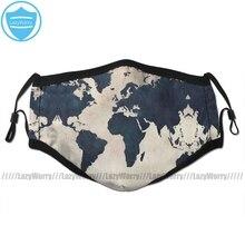 Mapa świata maska ochronna na twarz mapa świata w trudnej sytuacji granatowa maska na twarz moda zabawna z 2 filtrami dla dorosłych