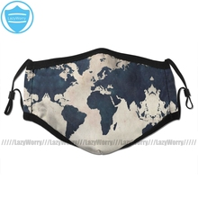 World Map Mouth Face Mask World Map Distressed Navy Facial Mask Fashion Funny with 2 Filters for Adult