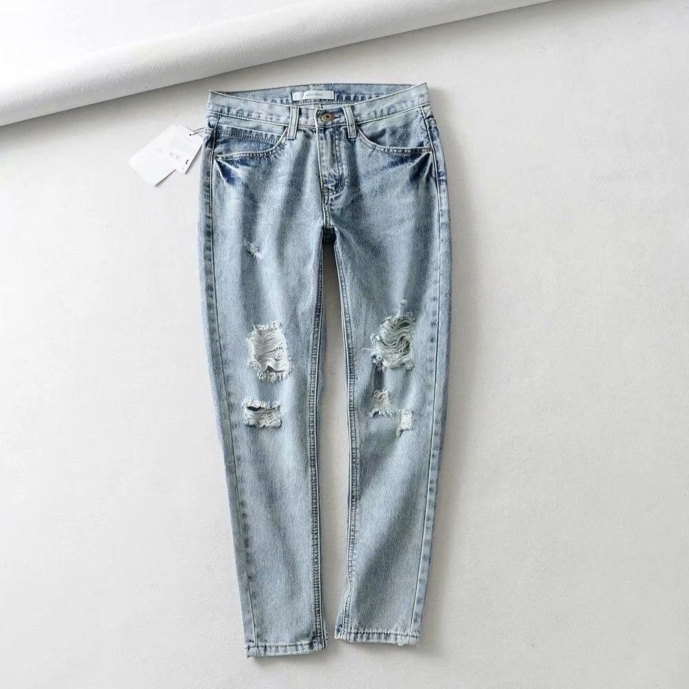 2019 New Style Summer Wear Western Style Straight-Cut Men's Friends Version Knee With Holes Jeans Capri Pants Women's