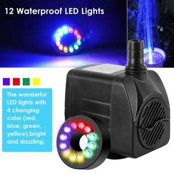 Fountain Pump12LED15W Pool Pond Aquarium Water Pump Tank Ultra-Quiet Submersible Water Fountain Pump Filter Fish Pond Fountain 15w submersible water pump with led light for garden aquarium fish tank pond fountain pump