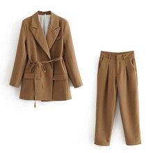 ZXQJ elegant women high quality brown suit set 2020 fashion