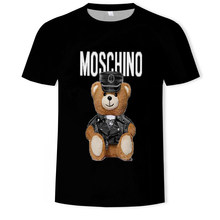 2021 men and women fashion casual gun bear 3D printing T-shirt soft texture hip-hop clothing T-shirt 110/6XL