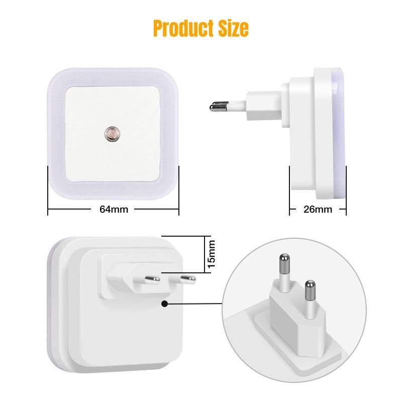 Nersury Light Sensor LED Night light Square Lamp Children 110V 220V Bedroom Mini Smart Night Light Kid LED Sensor Night Lamp 3