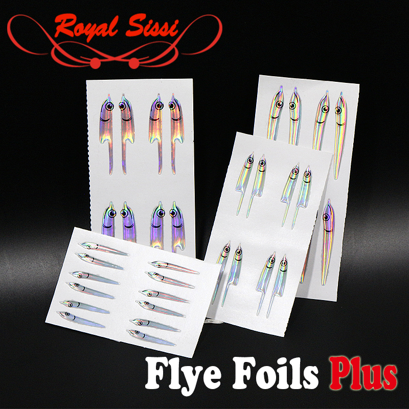 Royal Sissi16pairs set fly tying upgrade fleye foils baitfish lure vinyl masks artificial silverside sandeel fly tying materials
