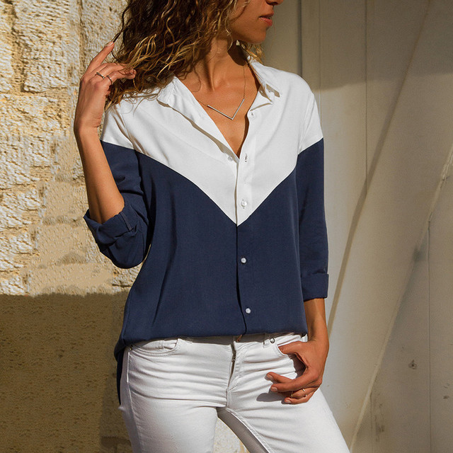 Ladies Fashion Patchwork Color Chiffon Blouse High Quality Casual Long Sleeve Tops Elegant Turn Down Collar Buttons Shirts S-3XL 1