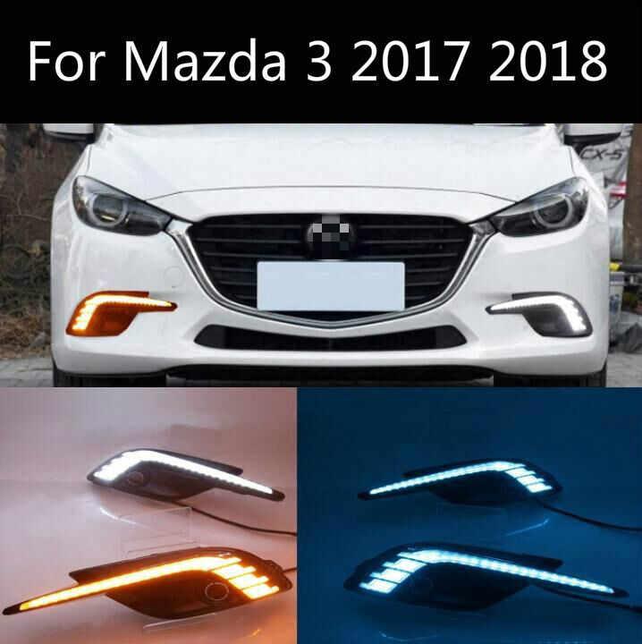 For 2017 2018 Mazda 3 Car LED White Daytime Running Light DRL Amber Turn Signals