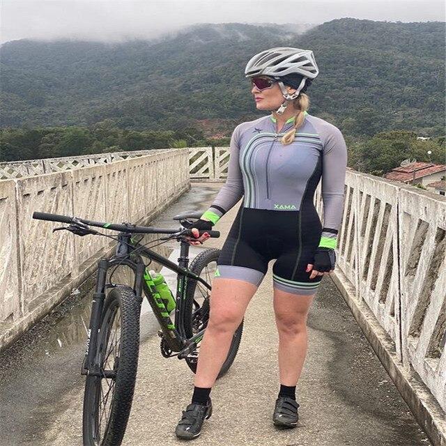Xama ciclismo manga longa trisuit skinsuit feminino manga curta bicicleta wear macacão conjunto de roupas roadbike ciclo 4