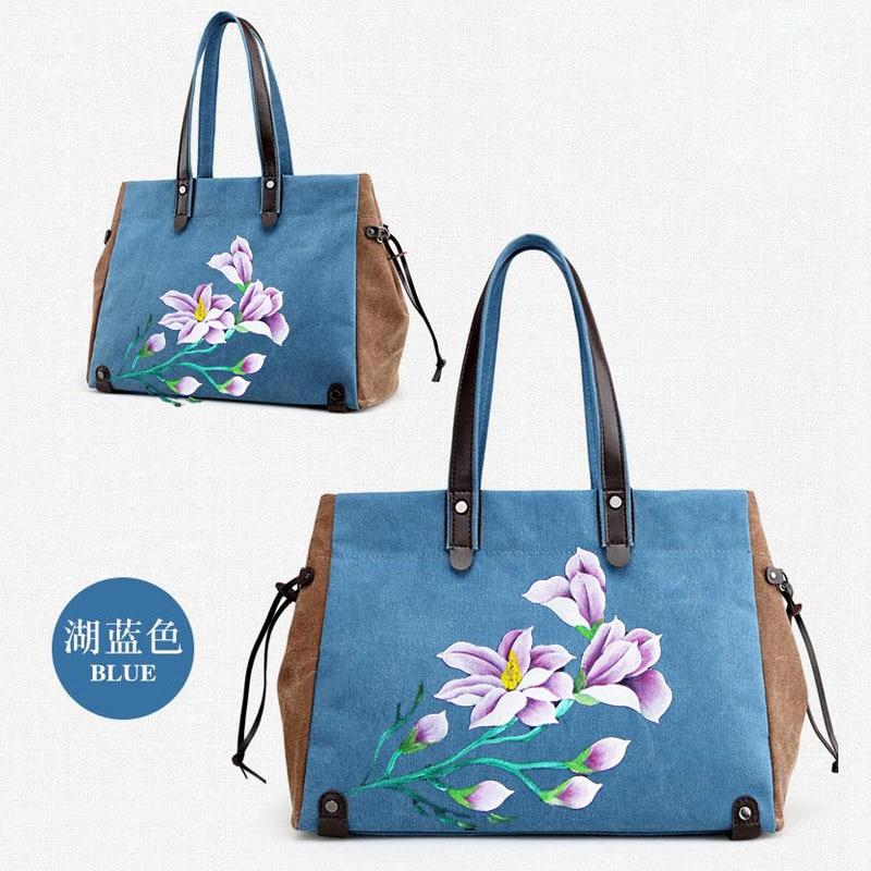 Fashionable Lady Canvas Bag, Hand-painted Handbag, Ethnic Hand-painted Flower Bag, Shoulder Bag