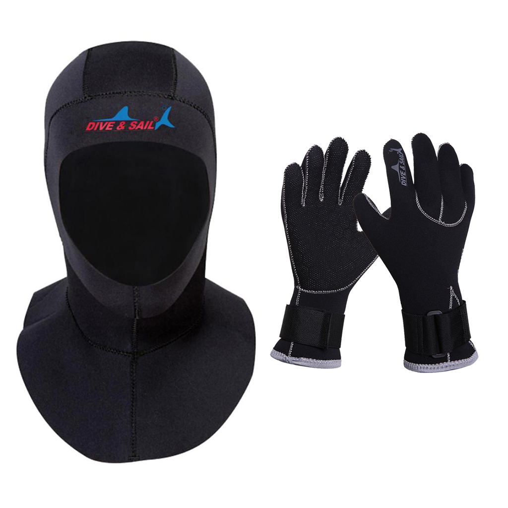 Adjustable Scuba Diving <font><b>Gloves</b></font> Wetsuit Neoprene Black 3mm Men/Women Winter Dive <font><b>Surfing</b></font> Hood Warm Cap Diving Accessories image