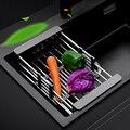 Küche Waschbecken Einstellbaren Rechteckigen Sieb Drain Obst Gemüse Dishe Schwarz Korb Lagerung Rack Edelstahl + ABS KI-7131