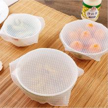 4 Teile/los Reusable Silikon Wrap Dichtung Lebensmittel Frisch Halten Wrap Deckel Abdeckung Stretch Vakuum Lebensmittel Wrap Küche Werkzeuge