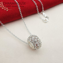 925 Sterling Silver Necklaces for Women AAA Clear Zirconia Beads Pendant Necklace Collier Choker White Gold GP Bridal Jewelry(China)