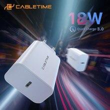 CABLETIME-cargador USB PD de 20W, carga rápida 3,0, tipo C, para iPad Pro, Huawei, Samsung, iPhone 12, cargador de teléfono C373