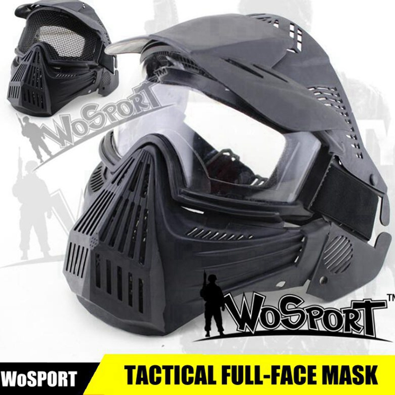 New Tactical Full Face Mask Army Military Airsoft Mask Paintball Mask W/ Lens CS Hunting Protection Masks Paintball Accessories