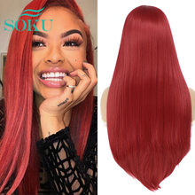 Synthetic Lace Front Wig Red Color Soft Straight Wigs SOKU Heat Resistant Fiber Hair Free Part Wig Natural Hair For Black Women