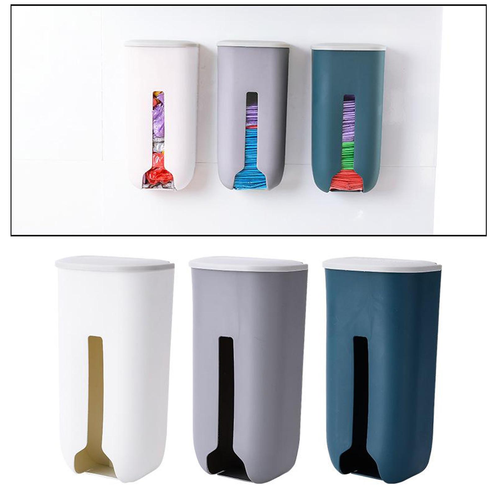 2pcs Garbage Bag Organizer Kitchen Storage Box Wall Mounted Plastic Dispenser