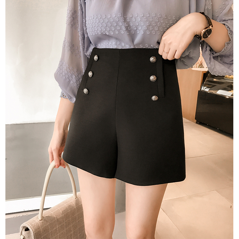 Woman Double Breasted Shorts New Fashion Design Spring Elegant Lady Casual Tops High Waist Short Trousers Work Wear LX1722