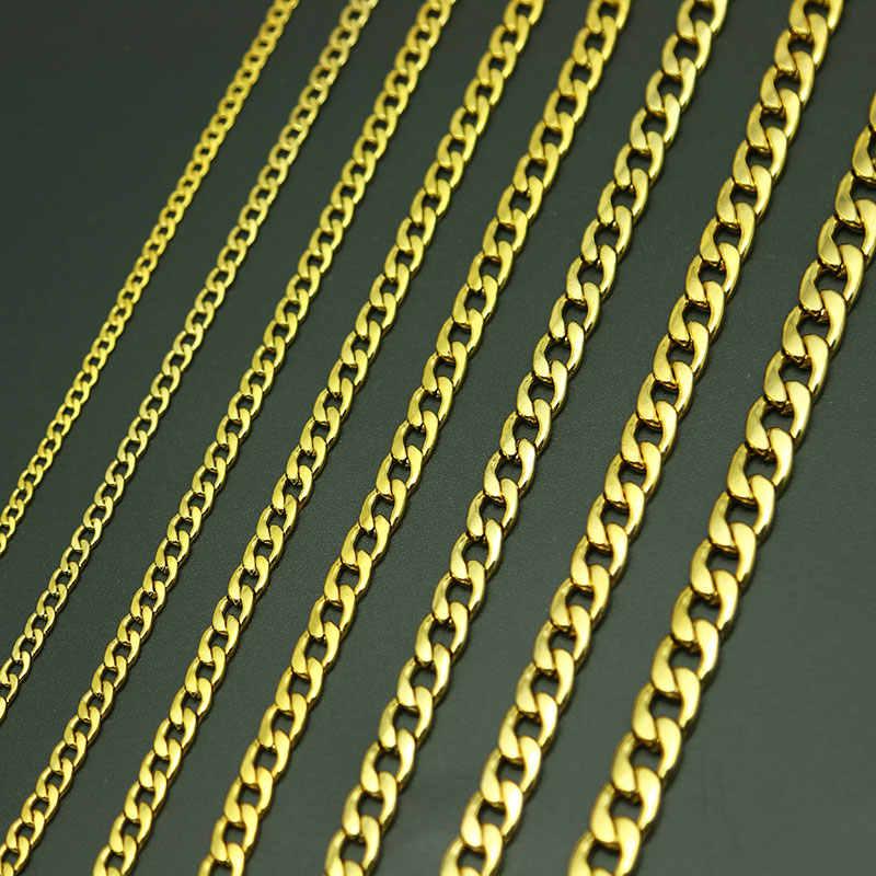Di collegamento Curb Catena degli uomini di Oro di Titanio In Acciaio Stainlee Figaro Piatta O Della Collana di Collegamento, 3-9MM di Larghezza Grande Collane delle donne All'ingrosso