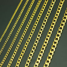 Link curb chain masculino ouro titânio stainlee aço figaro flat o link colar, 3-9mm de largura grandes colares atacado(China)