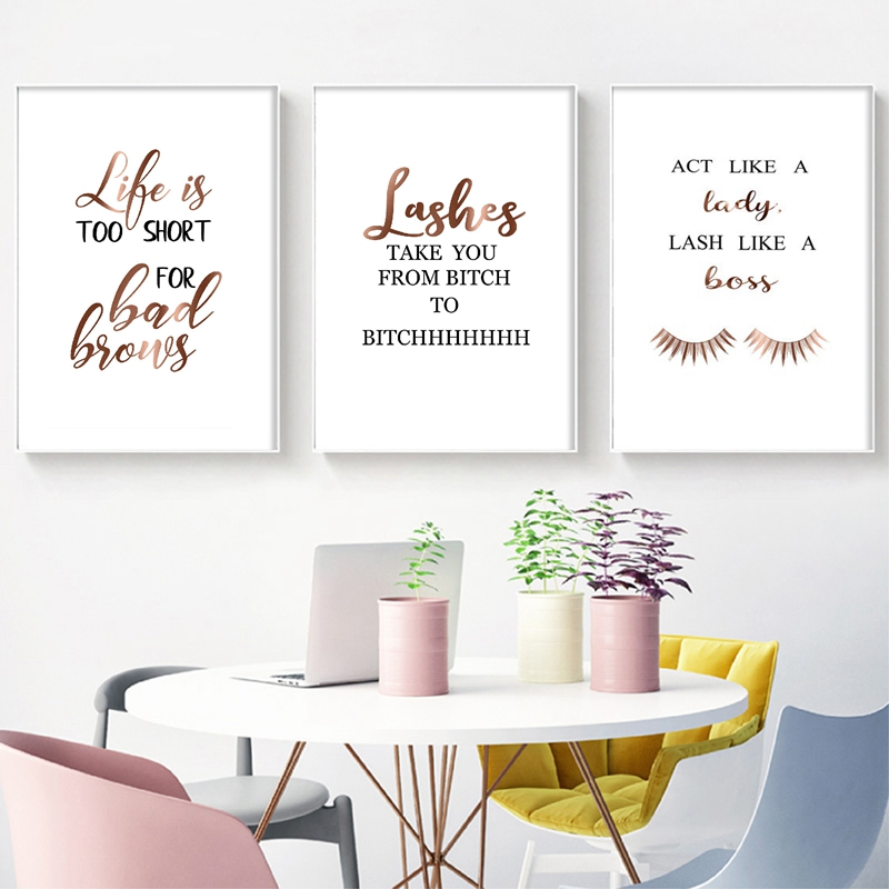Funny Eyelashes Quote Canvas Poster Beauty Salon Vanity Decor Eyebrows Extensions Makeup Wall Art Pictures Canvas Painting