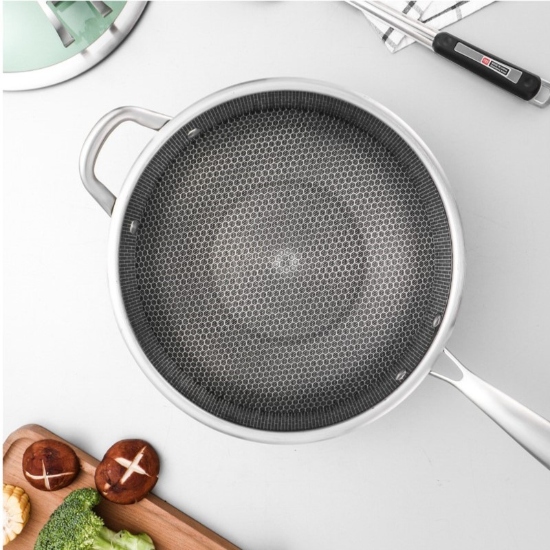 30cm Stainless Steel Wok Smokeless Health Wok Non-stick Pan Gas Stove Induction Cooker Universal Glass Cover Kitchen Cookware