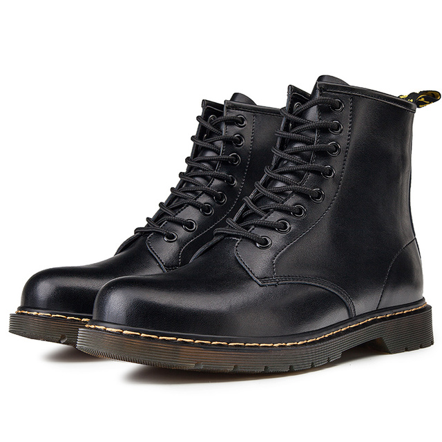 US $31.49  Men Boots Winter Dr Martens Booties Ankle Motorcycle PU Leather Shoes Man Casual Sneakers Top Brand Male Footwear Plus Size 45 on