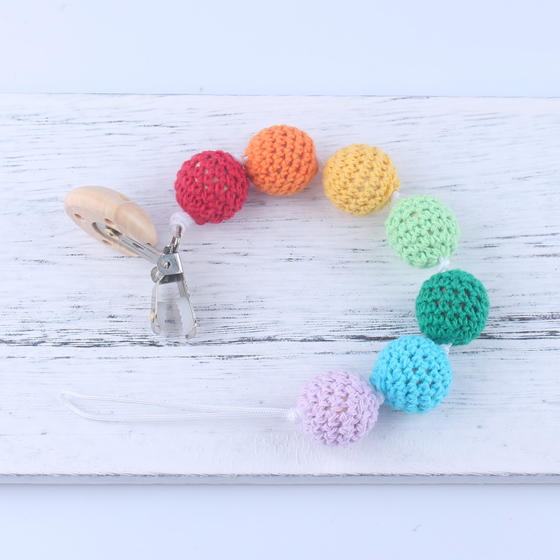 1Pcs Crochet Beads Pacifier Holder Clips Colorful Baby Pacifier Chain Teether Nipple Chain