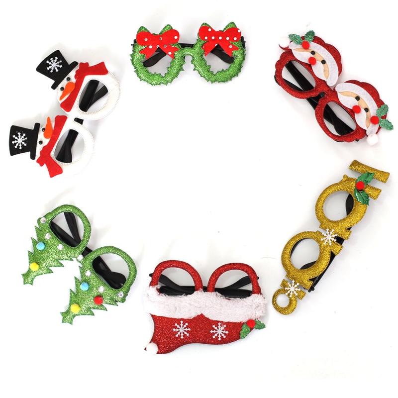 Рождественские украшения для вечеринки, детские игрушки для взрослых, оправа для очков в виде Санта-Клауса, снеговика, рога, блестящие очки, ...