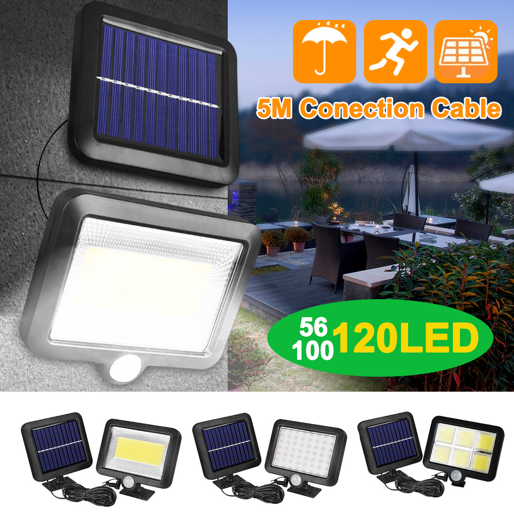 30/56/100/120 LED Solar Light Garden PIR Motion Sensor Outdoor Waterproof Split Wall Street Spotlight Security <font><b>Sola</b></font> Lamp image